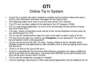 OTI  Online Tie In System