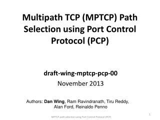 Multipath TCP (MPTCP) Path Selection using  Port Control Protocol (PCP)
