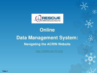 Online  Data Management System: Navigating the ACRIN Website  acrin