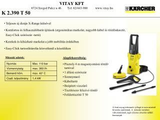 VITAY KFT 6724 Szeged  Pulcz  u.46.       Tel: 62/443-980           vitay.hu