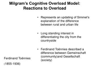 Milgram s Cognitive Overload Model: Reactions to Overload