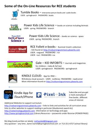 Some of the On-Line  Resources for RCE students