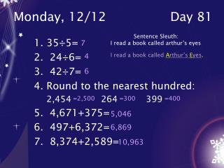 Monday, 12/12			Day 81