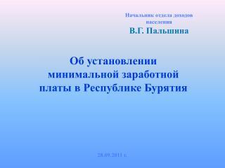 Начальник отдела доходов населения В.Г. Пальшина