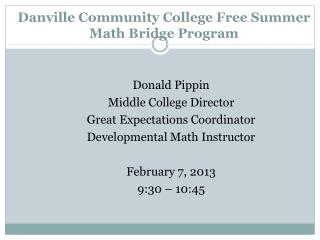 Danville Community College Free Summer  Math Bridge Program