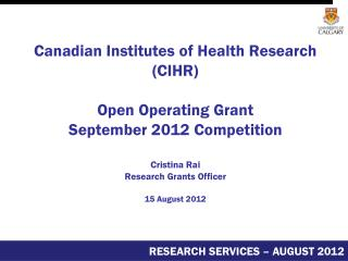 In Today's Presentation Open Operating Grant Competition overview Eligibility Registration phase