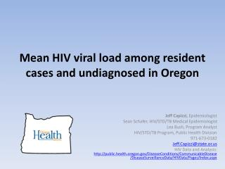 Mean HIV viral load among resident cases and undiagnosed in Oregon