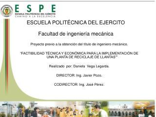 ESCUELA POLITÉCNICA DEL EJERCITO Facultad de ingeniería mecánica