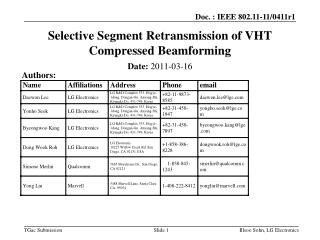 Selective Segment Retransmission of VHT Compressed Beamforming