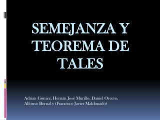 Semejanza y Teorema de Tales