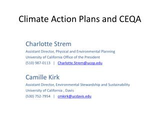 Climate Action Plans and CEQA