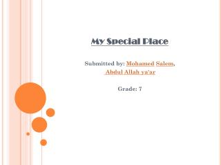 My Special Place  Submitted by:  Mohamed Salem ,  Abdul Allah  ya'ar Grade: 7