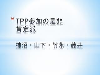 TPP 参加の是非  肯定派 柿沼・山下・竹永・藤井