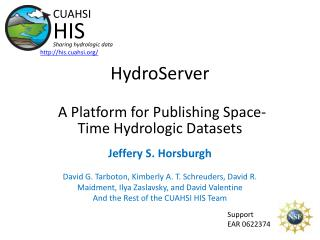 HydroServer A Platform for Publishing Space-Time Hydrologic Datasets