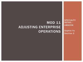 Mod  11 Adjusting enterprise operations