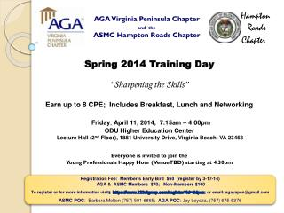 AGA Virginia Peninsula Chapter and  the ASMC Hampton Roads Chapter