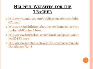 Helpful Websites for the Teacher