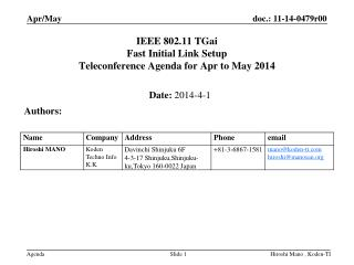 IEEE 802.11  TGai Fast Initial Link Setup  Teleconference Agenda for  Apr  to  May  2014