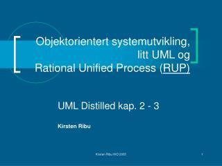 Objektorientert systemutvikling, litt UML og   Rational Unified Process RUP