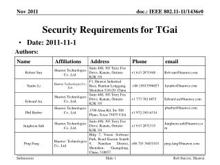 Security Requirements for  TGai