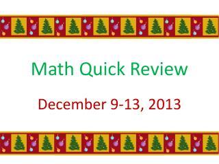 Math Quick Review