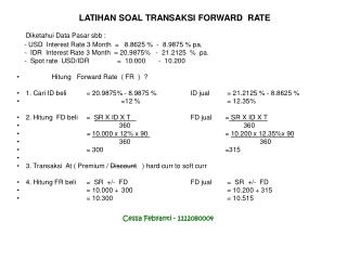 LATIHAN SOAL TRANSAKSI FORWARD  RATE