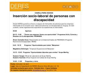 CHARLA PARA SOCIOS Inserción socio-laboral de personas con discapacidad