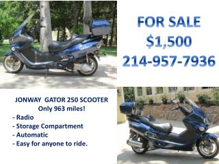 JONWAY  GATOR 250 SCOOTER Only 963 miles! - Radio - Storage Compartment - Automatic
