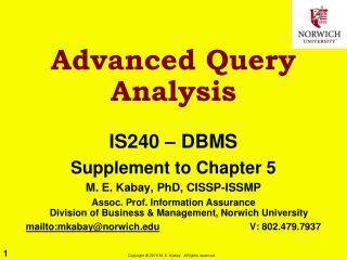Advanced Query Analysis