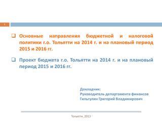 Проект бюджета г.о. Тольятти на 2014 г. и на плановый период 2015 и 2016  гг .
