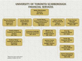 University of Toronto Scarborough Financial Services