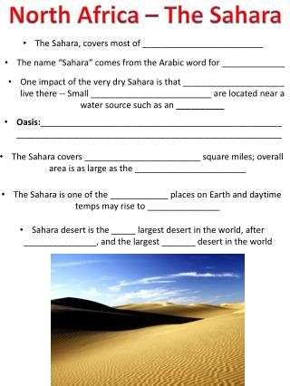 North Africa � The Sahara