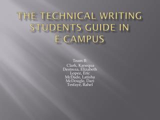 The Technical writing students guide in e-campus