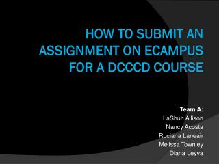 How to submit an assignment on  eCampus  for a DCCCD course