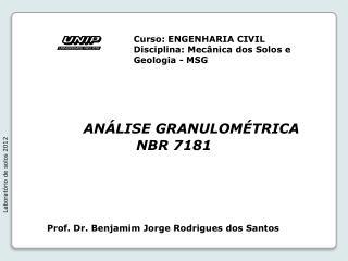 ANÁLISE GRANULOMÉTRICA NBR  7181