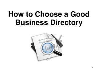How to Choose a Good Business Directory