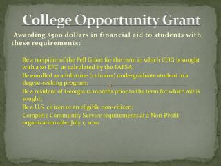 College Opportunity Grant