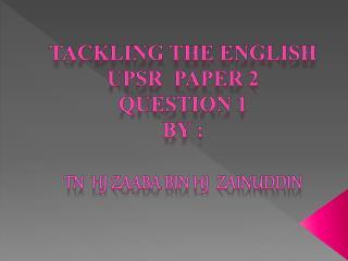 QUESTION 1 PAPER 2
