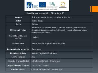 Identifikátor materiálu: EU – 14  - 33