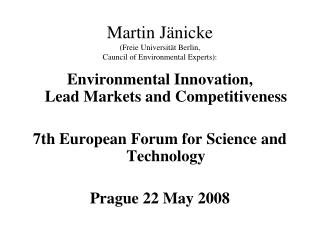 Martin J nicke Freie Universit t Berlin,  Cauncil of Environmental Experts: