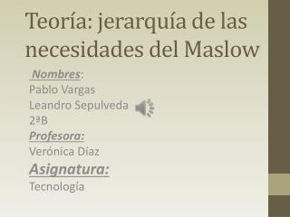 Teoría: jerarquía de las necesidades del Maslow