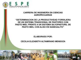 CARRERA DE INGENIERÍA EN CIENCIAS AGROPECUARIAS