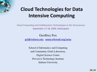Cloud Technologies for Data Intensive Computing
