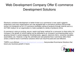 Web Development Company Offer E-commerce Development Solutio