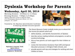 Dyslexia Workshop for Parents