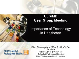 CureMD User Group Meeting Importance of Technology in  Healthcare