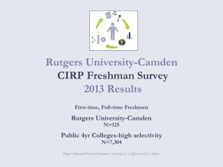 Rutgers University-Camden  CIRP Freshman Survey   2013 Results