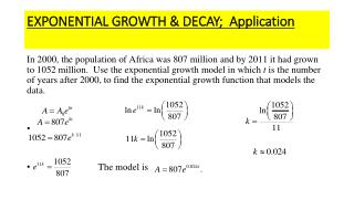 EXPONENTIAL GROWTH & DECAY;  Application