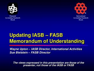 Updating IASB   FASB Memorandum of Understanding