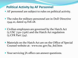 Political  Activity by AF Personnel